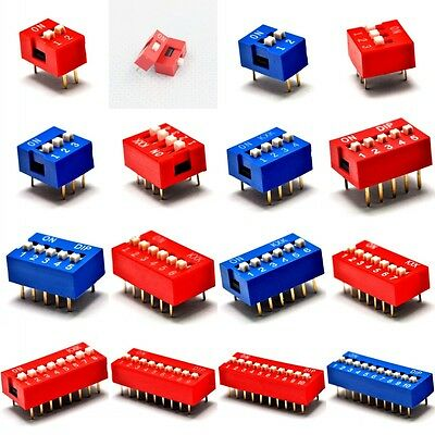 10PCS Red/Blue 2.54mm Pitch Slide Type Switch 1P/2P/3P/4P/5P-10P DIP Switch New