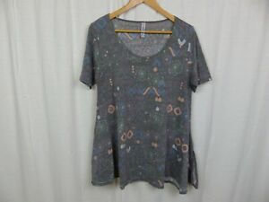 LuLaRoe-Perfect-T-Shirt-Women-039-s-Printed-Short-Sleeve-Tee-Casual-Gray-Size-Small