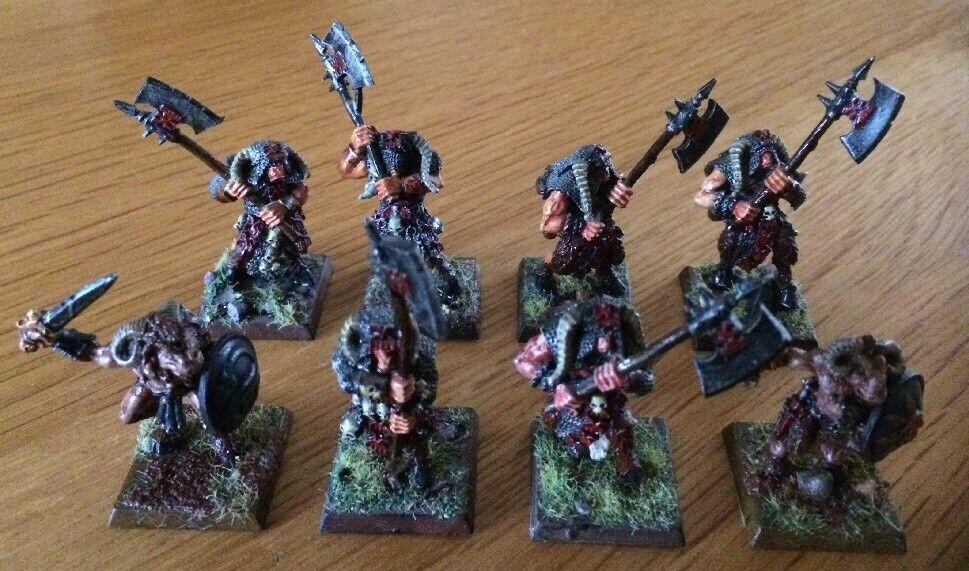 Warhammer Warhammer Warhammer Chaos Beastmen KHORNGORS METAL MINIATURES Pro peint Lot de 8 RARE b34ef3