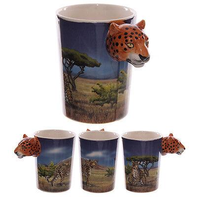 Fantasy Tasse Leopard Kaffeetasse Kaffeebecher Becher Mug Teetasse Katze Pott