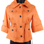 NWT-Anne-Klein-Orange-3-4-Sleeve-Button-Up-High-Neck-Draw-String-Jacket-Size-PS miniatuur 2