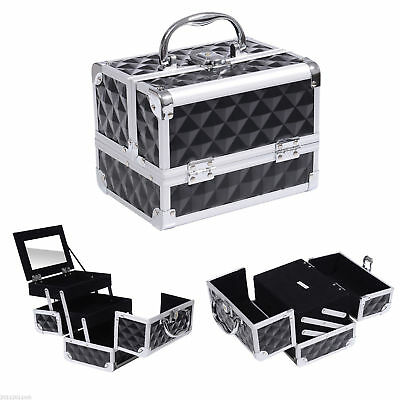 Pro Aluminum Makeup Train Case Jewelry Storage Box Cosmetic Organizer W/ Mirror