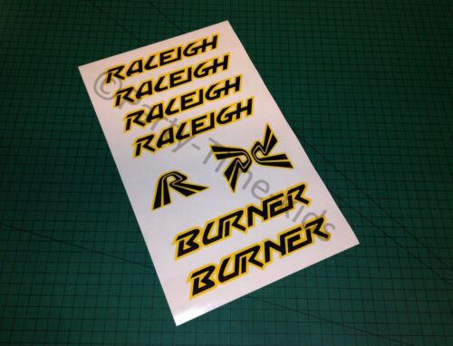 Raleigh Burner Old school BMX Custom Cadre /& Fourche Autocollants Stickers Vintage BMX