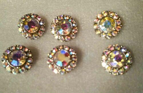 "6 silver-tone /& aurora borealis rhinestone buttons shank 7//8/"" scalloped edge"