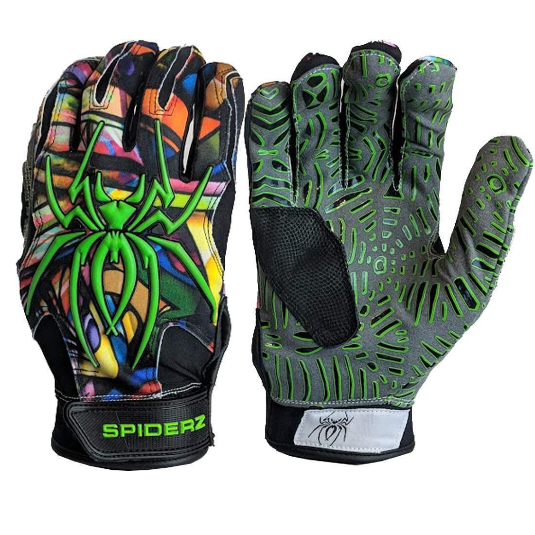 Web Tac Palm Spiderz HYBRID Batting Gloves Gloves Batting Graffiti MEDIUM d49b47