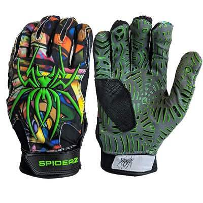 Spiderz HYBRID WEBTAC PALM Batting Gloves  Orange//White//Black MEDIUM