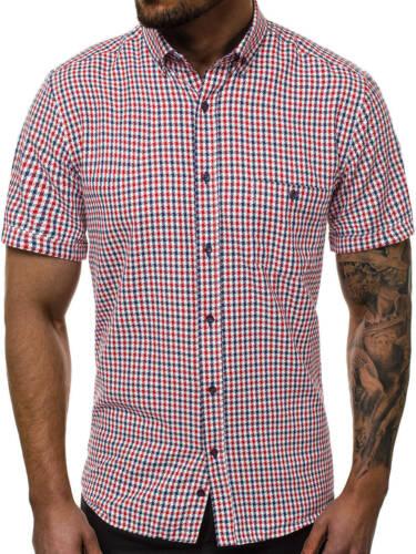 Camicia Business Tempo Libero Classic Slim Fit Manica Corta Casual Uomo OZONEE v//k105