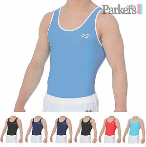 7794530c7fd8 NEW BOYS MENS ZONE ACE GYMNASTICS LEOTARD GYM DANCE BLUE RED BLACK ...