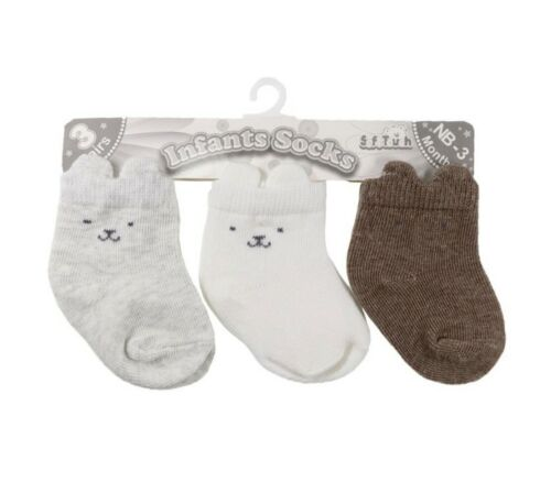 Unisex Newborn Baby Socks Boys Girls 3PK White Brown Grey Socks NB-3m 3-6m 6-12m