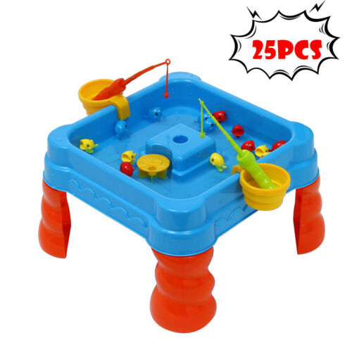 25 Pcs Fishing Game Toys Set Beach Bath Toys Floating Fish Play Sets Sand Water