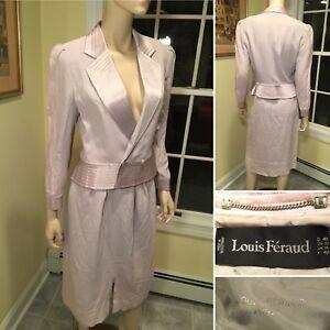 Vintage-1980-039-s-LOUIS-FERAUD-Size-10-Medium-Pale-Lilac-Purple-SKIRT-amp-BLAZER-SUIT