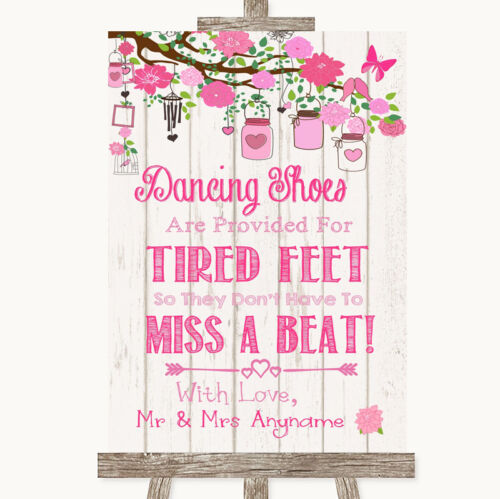 Pink Rustic Wood Dancing Shoes Flip-Flop Tired Feet Personalised Wedding Sign