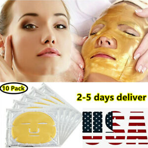 10pc-24K-Gold-Bio-Collagen-Facial-Face-Mask-Firming-anti-aging-Wrinkle-Skin-Care