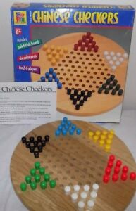 Vtg-90s-Wooden-Chinese-Checkers-Board-Game-Deluxe-Complete-Pavilion-Plastic-Pegs