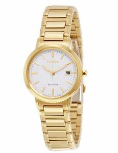 Citizen-Eco-Drive-Women-039-s-EW2372-51A-Silhouette-Gold-Tone-White-Dial-Watch