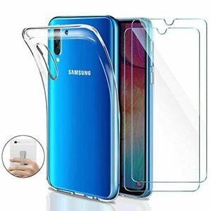 Younme Coque pour Samsung Galaxy A30s/ A50 Silicone Transparente, [Lot de 2] Ver