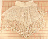 Large White Shawl Collar Applique Beaded Fringe Paisley Design Ab Sequins 15