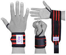 "EVO Fitness 18"" Weightlifting wrist Support Wraps Elasticated Gym Strap Bandages"