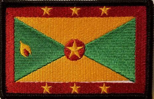 GRENADA Flag Iron-On Patch Tactical Morale Emblem Black Border