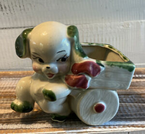 Vintage-Mid-Century-Anthropomorphic-Dog-Puppy-and-Cart-Planter-Kitschy