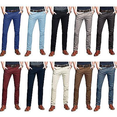 Para Hombre Semental Chino Pantalones Slim Fit Jeans Elástico Informal De Algodón Diseñador Nuevo | eBay