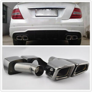 BLK-Square-Muffler-Pipe-For-2009-13-MERCEDES-C-S-SL-SLK-Class-W221-W212-AMG-M