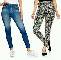 Slim 'n Lift Caressed Set Of Two Jean-printed Knit Pull-on Leggings Sz X/xl