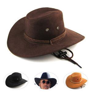 0fd903f5d Details about New Men Women Unisex Faux Leather American Cowboy Western  Style Hats Fancy Hat