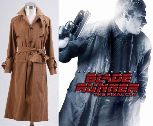 NEW Blade Runner Rick Deckard Trench Manteau Costume Fait Sur Mesure #ZZ57