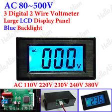 Mini AC 80-500V 3-Digital Voltmeter LCD Panel Volt Voltage Meter 110V 220V 380V