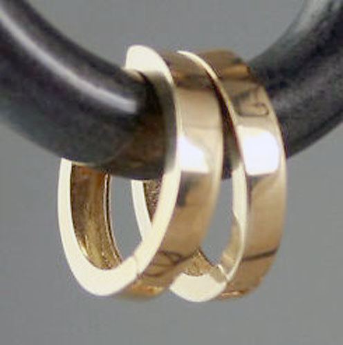 "Italian 0.7g Solid 14K Yellow Gold Small Huggies Hoop Earrings 10mm x2mm 0.40/"""