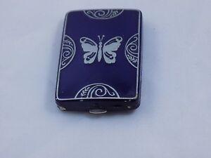 Art Deco HTF Blue Enameled Butterfly Lucrecia Vanderbilt Double Vanity Compact