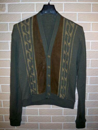 Vintage Green Wool Cardigan Sweater w/ Suede Leath