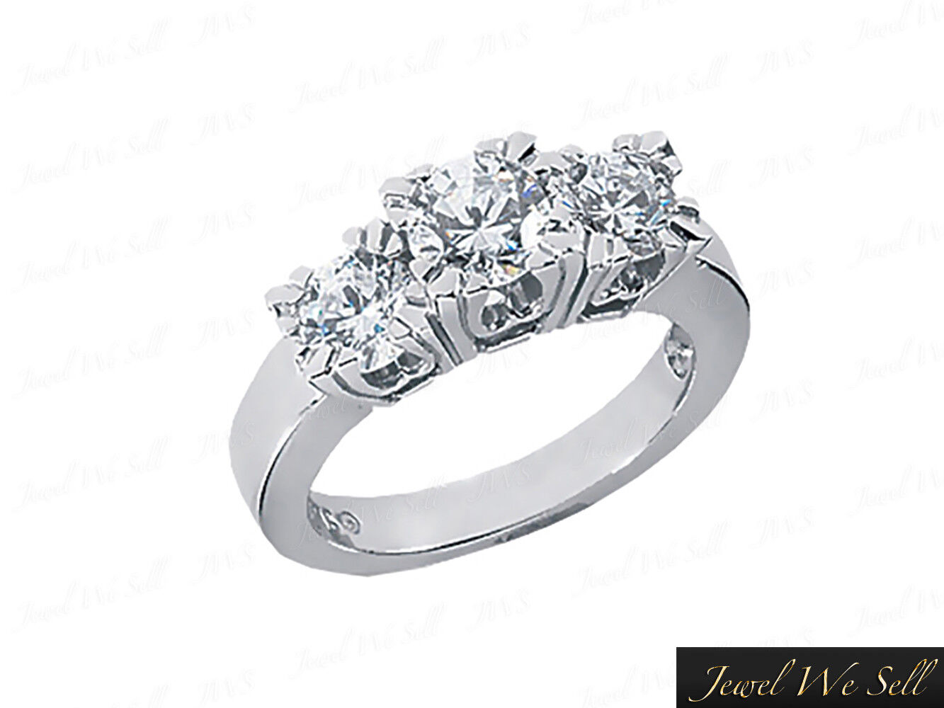Genuine 1 2ct Round Diamond 3Stone Engagement Ring 14K White gold GH I1 Prong