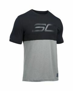 Autentico-Under-Armour-Heatgear-SC30-Mono-Logo-Negro-Gris-Camiseta-1290571-001