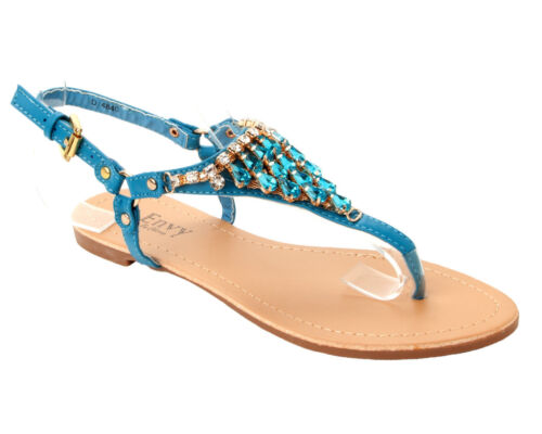 Haut Femme Turquoise Strass Bijou plat ete plage sandales dames taille uk 3-8