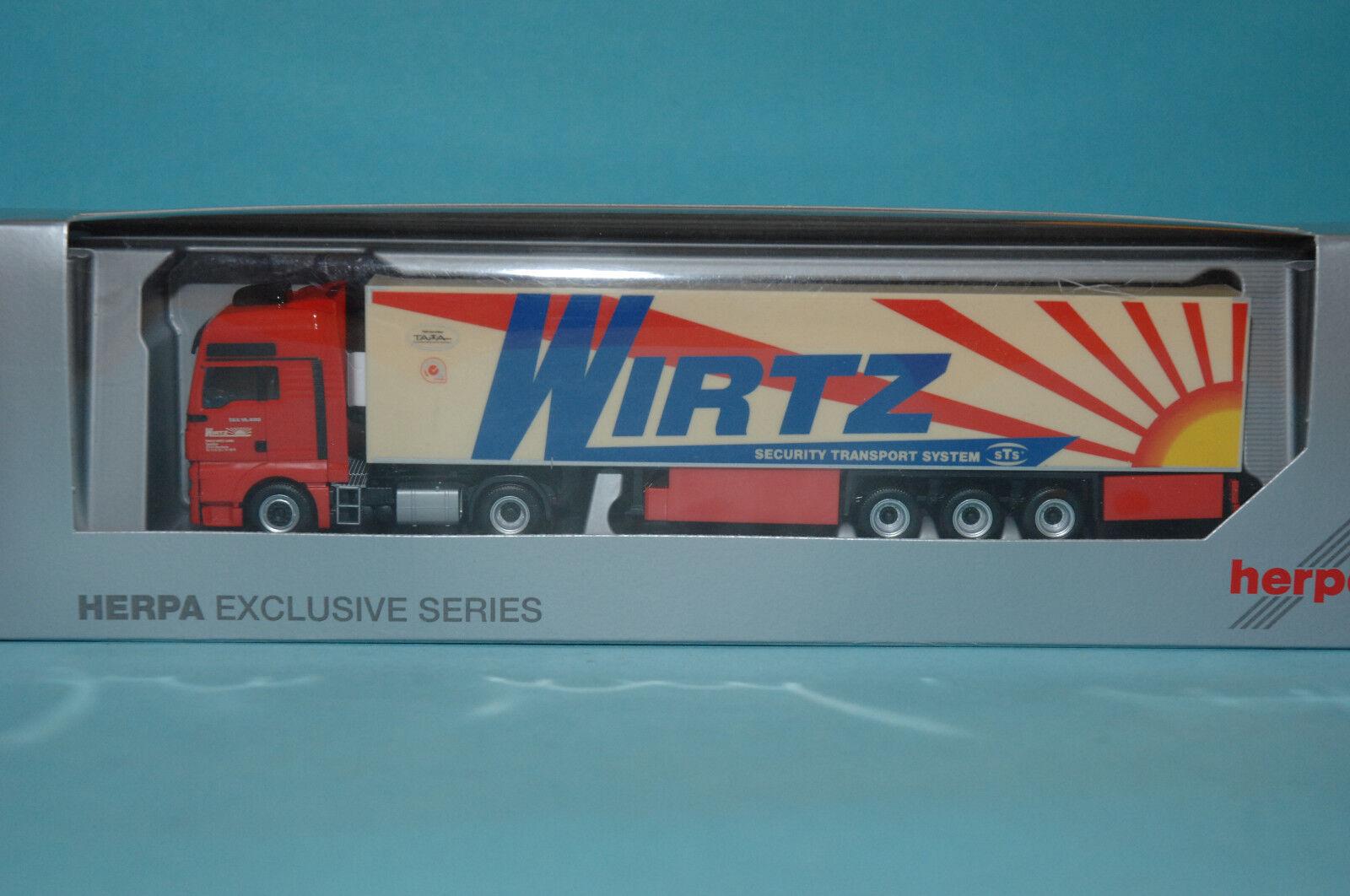 Herpa 926485 man tgx xxl articulated lorry 'wirtz  HO 1 87 new