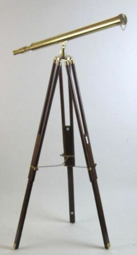 HARBORMASTER BRASS TELESCOPE ON TRIPOD NAUTICAL TELESCOPE WOODEN TRIPOD