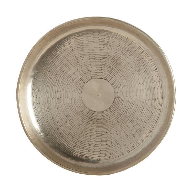 Deko Tablett Carve, metallic silver Serviertablett im Maß  Ø30cm, H1,5cm