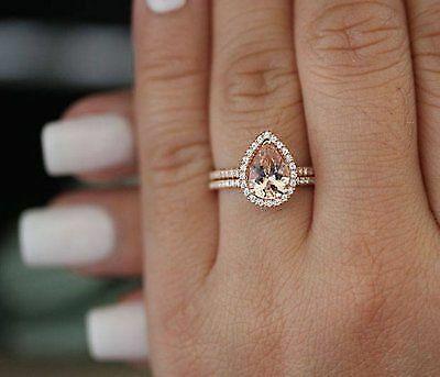 1.90 Ct Pear Cut Solitaire Morganite Bridal Set 14k pink gold GP Wedding Ring