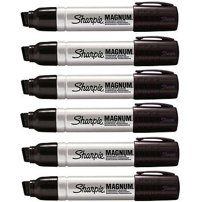 Sharpie Magnum 44 Jumbo Permanent Black Markers, 44001, Pack of 6