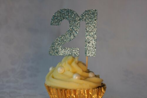 Various Colours Available 21st Birthday Glitter Cupcake Topper Set of 12