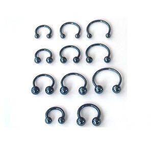 x-2-Fer-a-cheval-Piercing-bleu-gris-2-boules-en-11-tailles-HORSESHOE-Snakebite