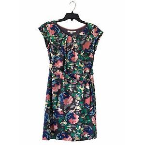 Boden Natalie Tie Waist Sheath Silk Blend Floral Print Mini Dress Womens Size 6