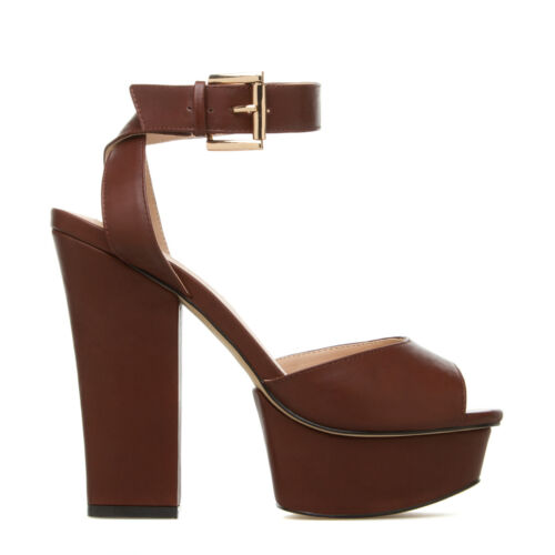 High Strappy Leila Stone Brown fashion sandals Faux Leather
