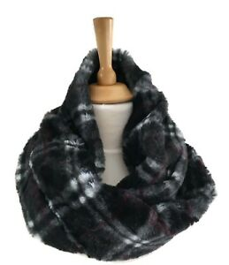 Black-Check-Winter-Faux-Fur-Mobius-Snood-Infinity-Scarf-Cowl-Neck-Warmer-New-18