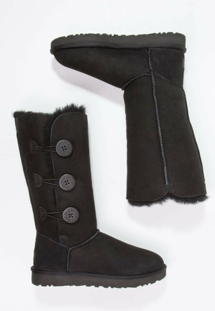 7486c9a2afe UGG Australia Bailey Button Triplet LL BOOTS Black Size 7 Medium Z11