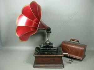 Antique-Columbia-BQ-Gramophone-Cylinder-Phonograph-w-Red-Flower-Horn-Working