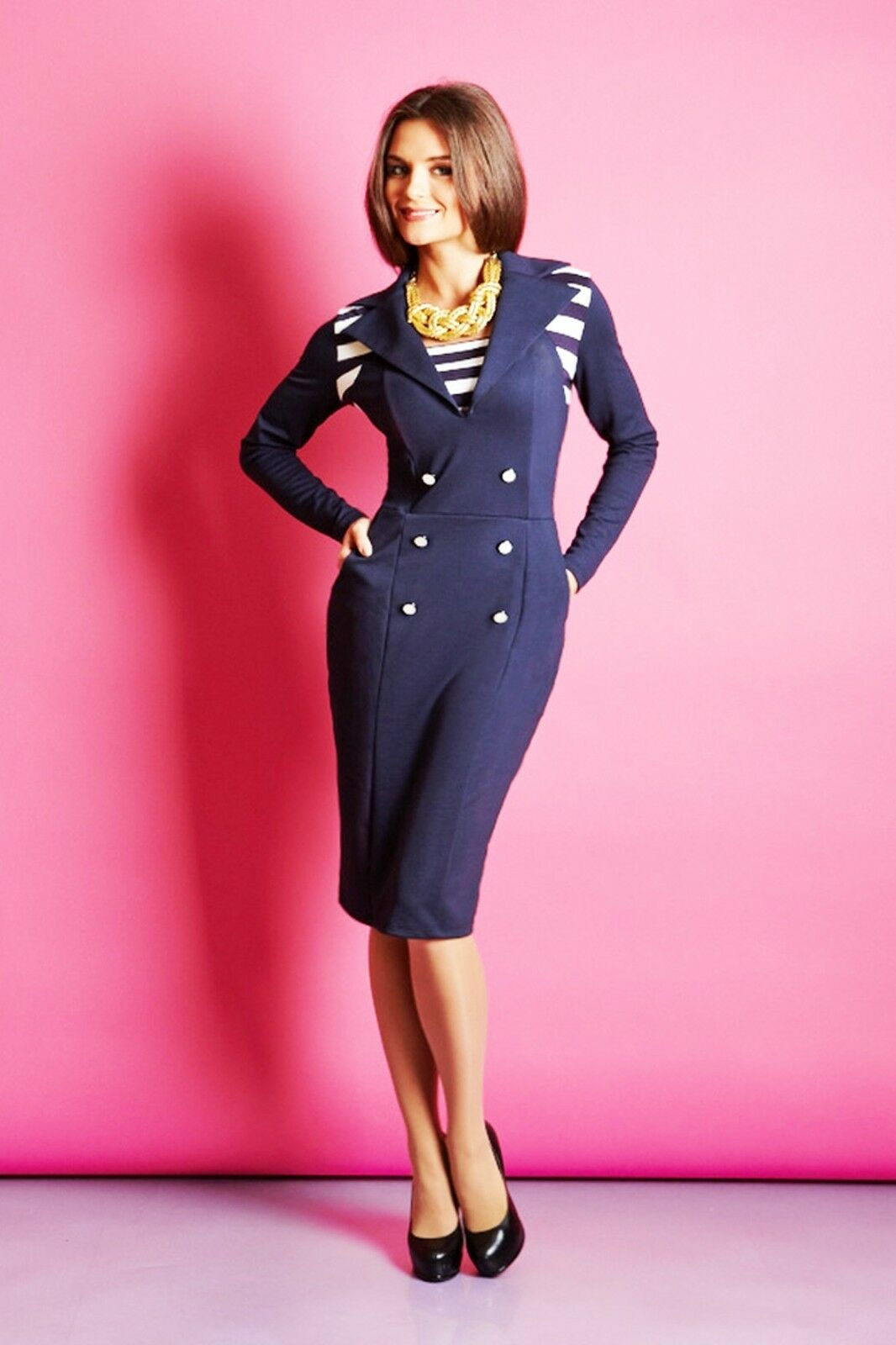 WEAR TO WORK LONG SLEEVE DRESS European Stretch Navy Blau Pocket Contrast Dress