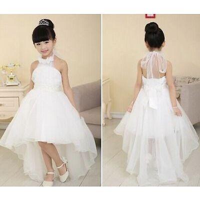 New Girl Pageant Wedding Birthday Party Princess Bridesmaid Dress Kid White UK